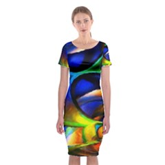 Light Texture Abstract Background Classic Short Sleeve Midi Dress