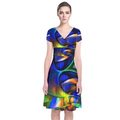 Light Texture Abstract Background Short Sleeve Front Wrap Dress