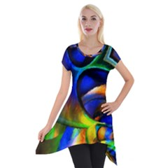 Light Texture Abstract Background Short Sleeve Side Drop Tunic