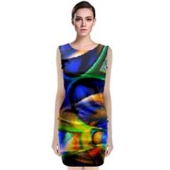 Light Texture Abstract Background Sleeveless Velvet Midi Dress