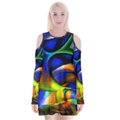 Light Texture Abstract Background Velvet Long Sleeve Shoulder Cutout Dress