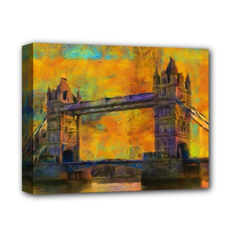 London Tower Abstract Bridge Deluxe Canvas 14  X 11