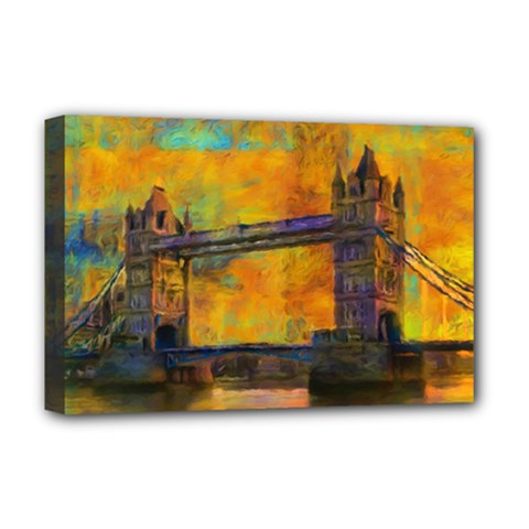 London Tower Abstract Bridge Deluxe Canvas 18  X 12