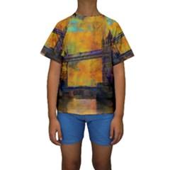 London Tower Abstract Bridge Kids  Short Sleeve Swimwear