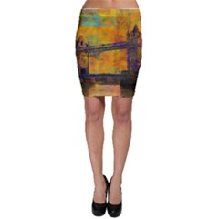 London Tower Abstract Bridge Bodycon Skirt