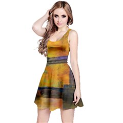London Tower Abstract Bridge Reversible Sleeveless Dress