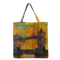 London Tower Abstract Bridge Grocery Tote Bag