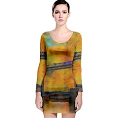 London Tower Abstract Bridge Long Sleeve Bodycon Dress
