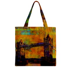 London Tower Abstract Bridge Zipper Grocery Tote Bag