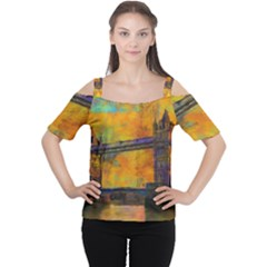 London Tower Abstract Bridge Women s Cutout Shoulder Tee
