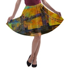 London Tower Abstract Bridge A Line Skater Skirt