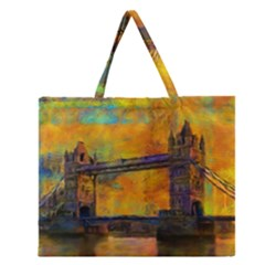 London Tower Abstract Bridge Zipper Large Tote Bag