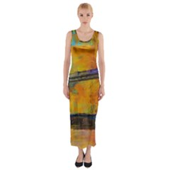 London Tower Abstract Bridge Fitted Maxi Dress