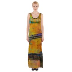 London Tower Abstract Bridge Maxi Thigh Split Dress