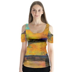 London Tower Abstract Bridge Butterfly Sleeve Cutout Tee