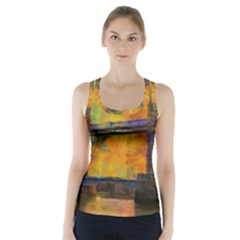 London Tower Abstract Bridge Racer Back Sports Top