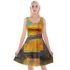 London Tower Abstract Bridge Reversible Velvet Sleeveless Dress