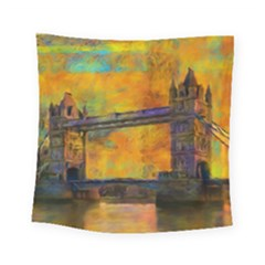London Tower Abstract Bridge Square Tapestry (small)