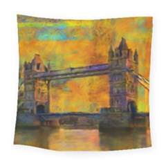 London Tower Abstract Bridge Square Tapestry (large)