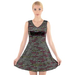 Full Frame Shot Of Abstract Pattern V Neck Sleeveless Skater Dress