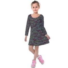 Full Frame Shot Of Abstract Pattern Kids  Long Sleeve Velvet Dress