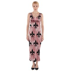 Royal1 Black Marble & Red & White Marble Fitted Maxi Dress