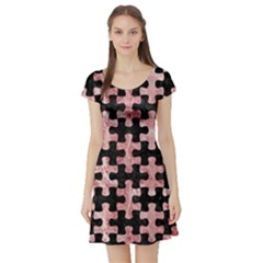 Puzzle1 Black Marble & Red & White Marble Short Sleeve Skater Dress