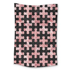 Puzzle1 Black Marble & Red & White Marble Large Tapestry