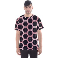 Hexagon2 Black Marble & Red & White Marble Men s Sports Mesh Tee