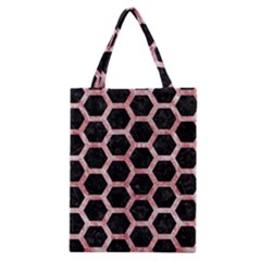 Hexagon2 Black Marble & Red & White Marble Classic Tote Bag