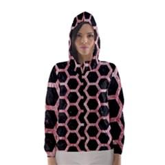 Hexagon2 Black Marble & Red & White Marble Hooded Wind Breaker (women)