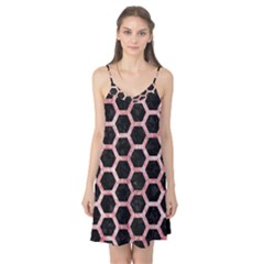 Hexagon2 Black Marble & Red & White Marble Camis Nightgown