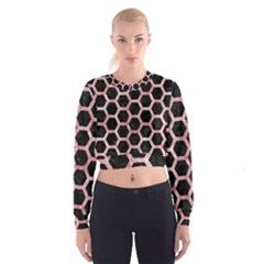 Hexagon2 Black Marble & Red & White Marble Cropped Sweatshirt
