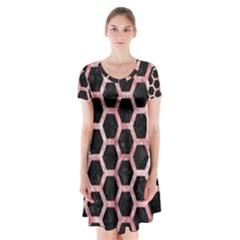 Hexagon2 Black Marble & Red & White Marble Short Sleeve V Neck Flare Dress