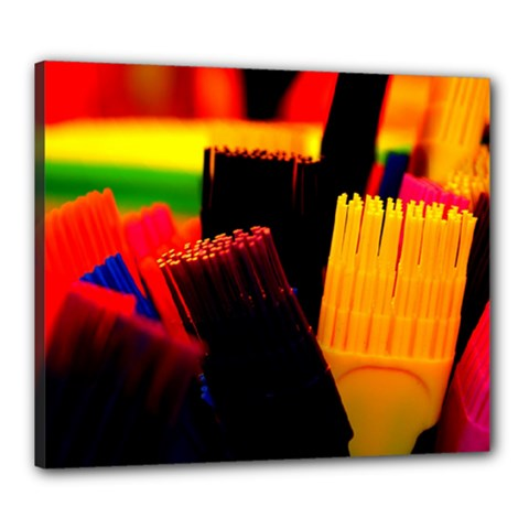 Plastic Brush Color Yellow Red Canvas 24  X 20