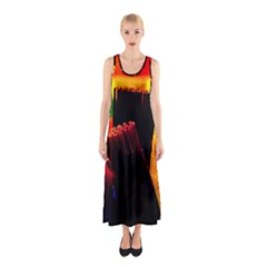 Plastic Brush Color Yellow Red Sleeveless Maxi Dress