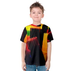 Plastic Brush Color Yellow Red Kids  Cotton Tee