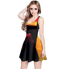Plastic Brush Color Yellow Red Reversible Sleeveless Dress