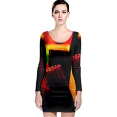 Plastic Brush Color Yellow Red Long Sleeve Bodycon Dress