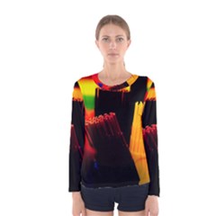 Plastic Brush Color Yellow Red Women s Long Sleeve Tee