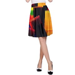 Plastic Brush Color Yellow Red A Line Skirt