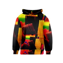 Plastic Brush Color Yellow Red Kids  Pullover Hoodie