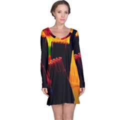 Plastic Brush Color Yellow Red Long Sleeve Nightdress