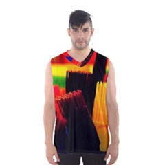 Plastic Brush Color Yellow Red Men s Basketball Tank Top