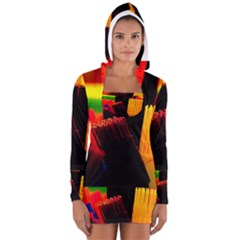 Plastic Brush Color Yellow Red Women s Long Sleeve Hooded T Shirt