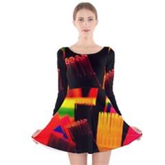 Plastic Brush Color Yellow Red Long Sleeve Velvet Skater Dress