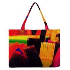 Plastic Brush Color Yellow Red Medium Zipper Tote Bag