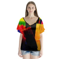 Plastic Brush Color Yellow Red Flutter Sleeve Top