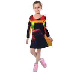 Plastic Brush Color Yellow Red Kids  Long Sleeve Velvet Dress