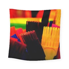 Plastic Brush Color Yellow Red Square Tapestry (small)